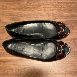 Gucci Patent Leather Peep Toe Flats Black size 7